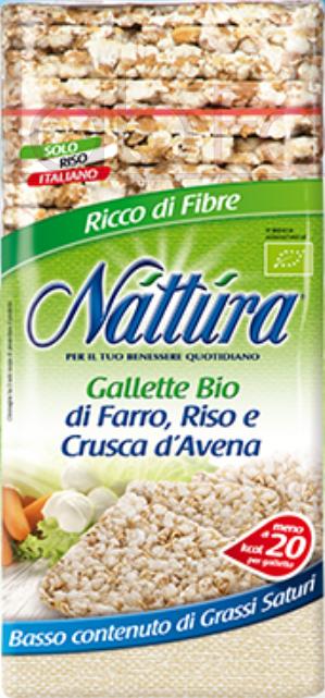NATTURA GALLETTE QUADRE DI FARRO, RISO E CRUSCA DAVENA